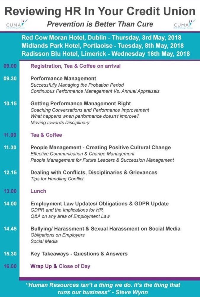 test Twitter Media - We commenced the first of our HR Masterclasses in Dublin today with @HelenaBroderick of @CollierBroderic Spaces available for our Portlaoise (May 8th) and Limerick (May 16th) Masterclasses, please contact Lisa on lisa.stapleton@cuma.ie or Laura on info@cuma.ie or call 062-26244 https://t.co/mzGtZMpfaz