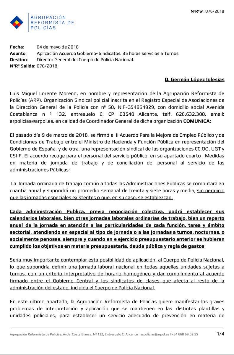 RECLAMANDO LA JORNADA LABORAL DE 35 HORAS, SINDICALISMO SERIO Y COMPROMETIDO, CUBRIENDO EL ESPACIO DE TRABAJO Y SERIEDAD ABANDONADO POR LOS SINDICATOS RANCIOS. EN @ARPolicias  LUCHANDO DE VERDAD POR LOS DERECHOS DE LOS POLICIAS #ARPmarcandoritmo https://t.co/j1N1pgAh3T