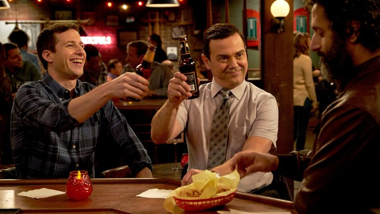 See how the BrooklynNineNine cast celebrated their show's renewal on NBC