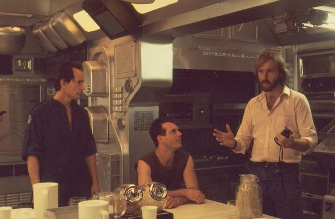 Happy 78th birthday to Lance Henriksen, seen here with Bill Paxton and James Cameron on the set of \Aliens\ (1986).