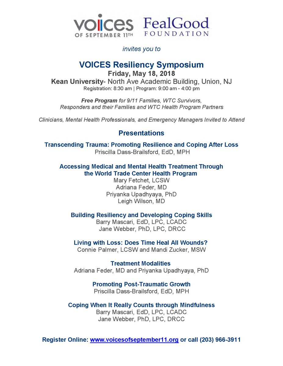 test Twitter Media - VOICES and FGF_ONE Resiliency Symposium Friday, May 18, 2018 Kean University- Union, NJ Registration: 8:30 am | Program: 9:00 am - 4:00 pm Free Program for 9/11 Families, WTC Survivors, Responders and their Familiess https://t.co/qvh9eIB1PD