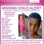 RT @Abramjee: #Missing - Katlego Joja (10) from Mamelodi Pretoria. Let's find her. SHARE please. @ThePinkLadiesOr https://t.co/kHD9Y1KhH9
