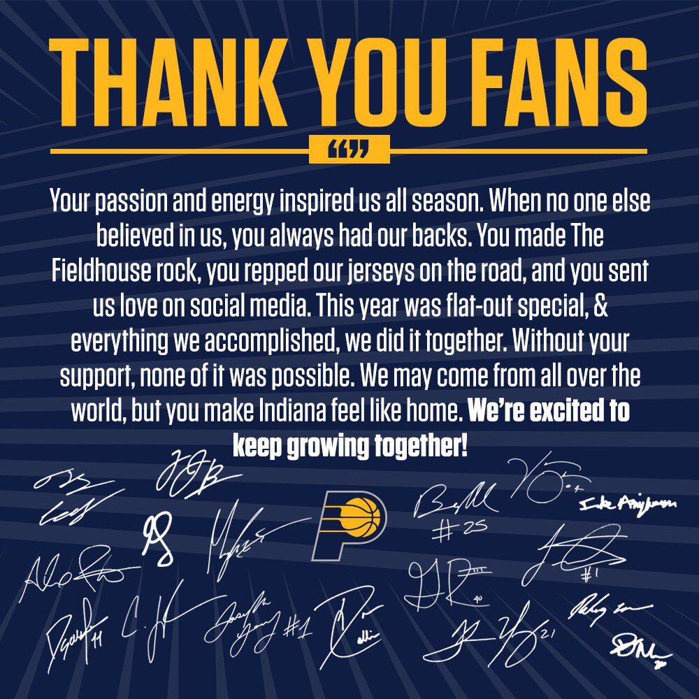 Thank you, #Pacers fans.  From the entire team: https://t.co/T3iqdIB4eb