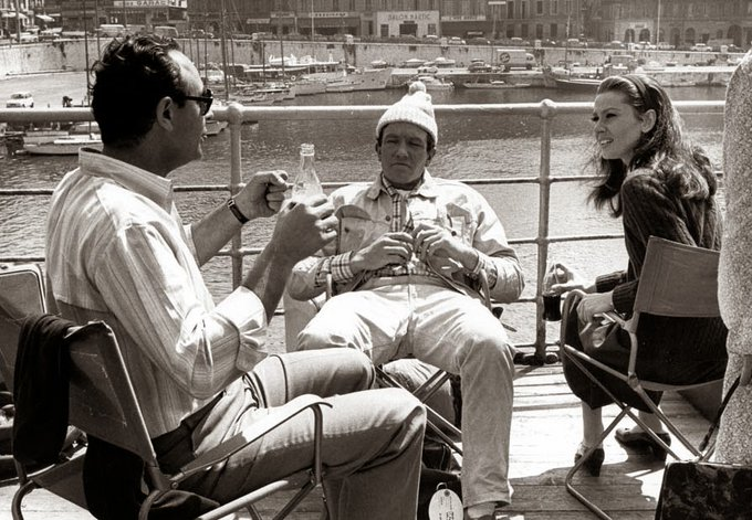 Happy birthday Albert Finney. With Stanley Donen & Audrey Hepburn on the set of Two For The Road, 1967