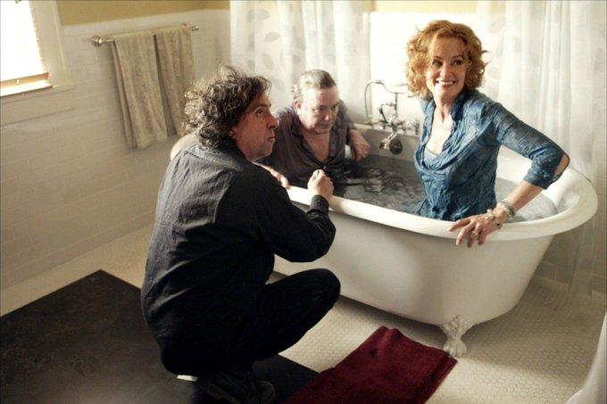 Happy birthday Albert Finney. With Tim Burton & Jessica Lange on the set of Big Fish, 2003