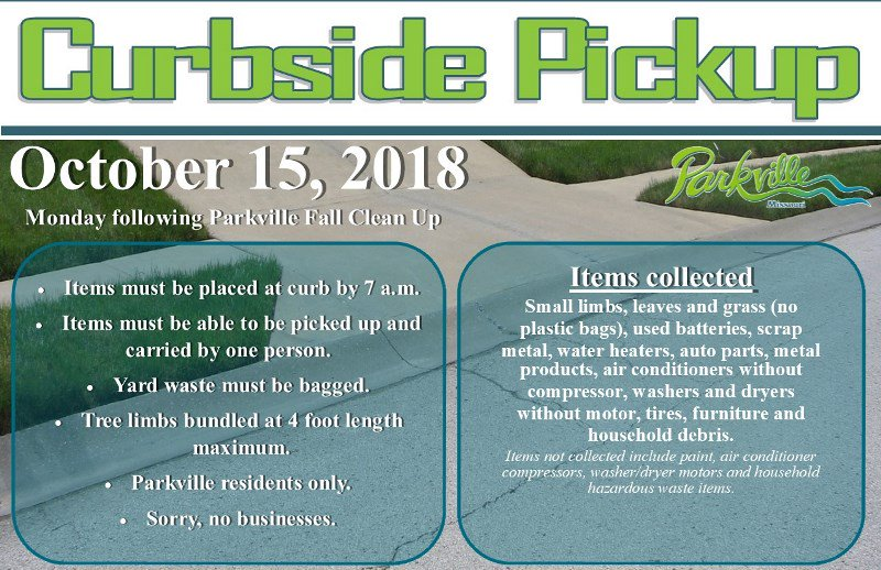 test Twitter Media - Save the date! @parkvillemo will provide curbside pickup of landscape waste and bulky waste to residents on Monday, October 15th. Items must be placed at curb by 7:00 a.m. Yard waste placed at the curb must be bagged and limbs must be bundled at a maximum length of four feet. https://t.co/3DYoCmJtdr