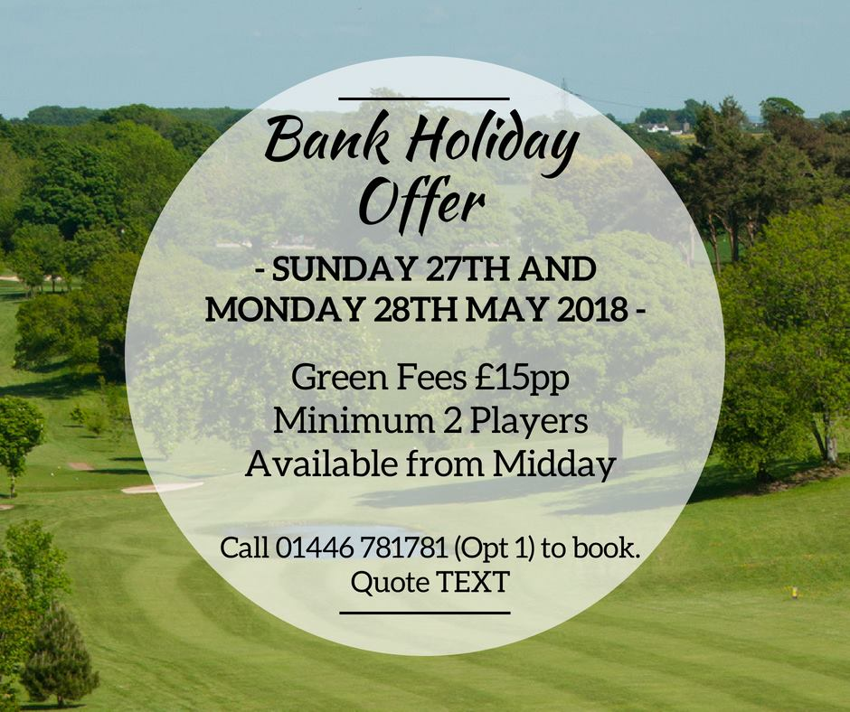 test Twitter Media - B A N K   H O L I D A Y   O F F E R☀️⛳  The Bank Holiday Weekend is the perfect opportunity to get out on the course and take advantage of our fantastic offers!  Call 01446 781781 Option 1 to book your Tee times today! https://t.co/5SmOhGrisg