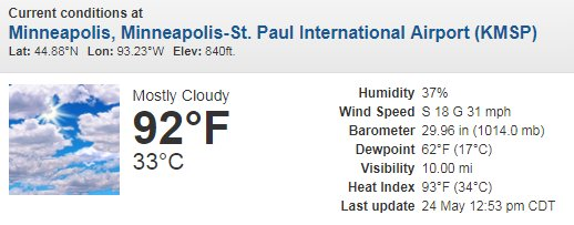 The Temperature At 1253 Pm Was 92 Degrees At The Minneapolis St