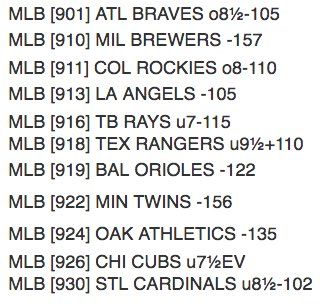 Big bad board coming out to play tonight. Lots to like, let's get #BackInBlack tonight! #MLBPicks https://t.co/c9KChcP9SX