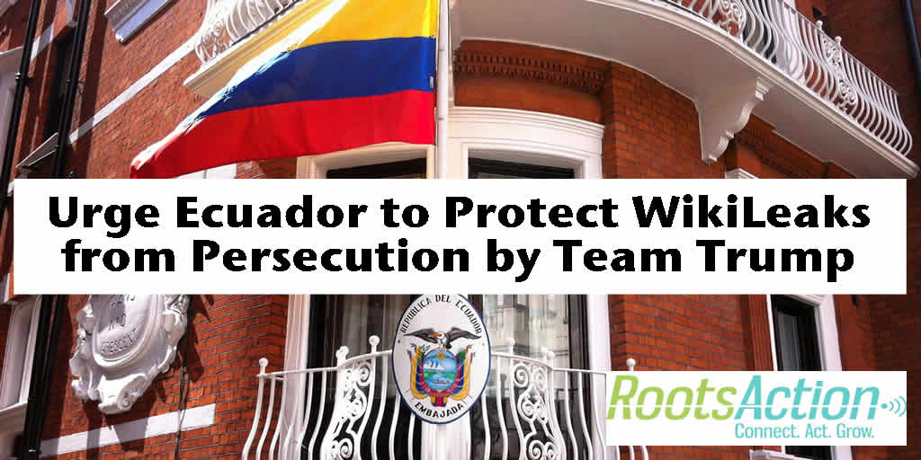 Urge Ecuador to Protect #WikiLeaks from Persecution by Team Trump. https://t.co/LdjqzWlQdY Take Action with… https://t.co/u3TYK1JL9i