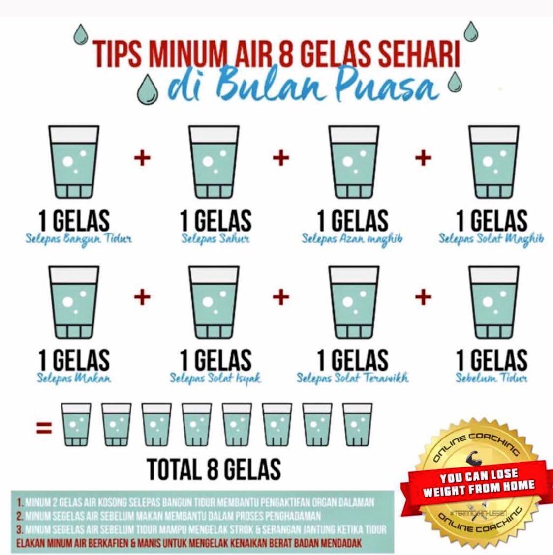 RT @sufiansuhaimi_: Tips minum air 8 gelas sehari di bulan #Ramadhan https://t.co/OPtGrTEm5l