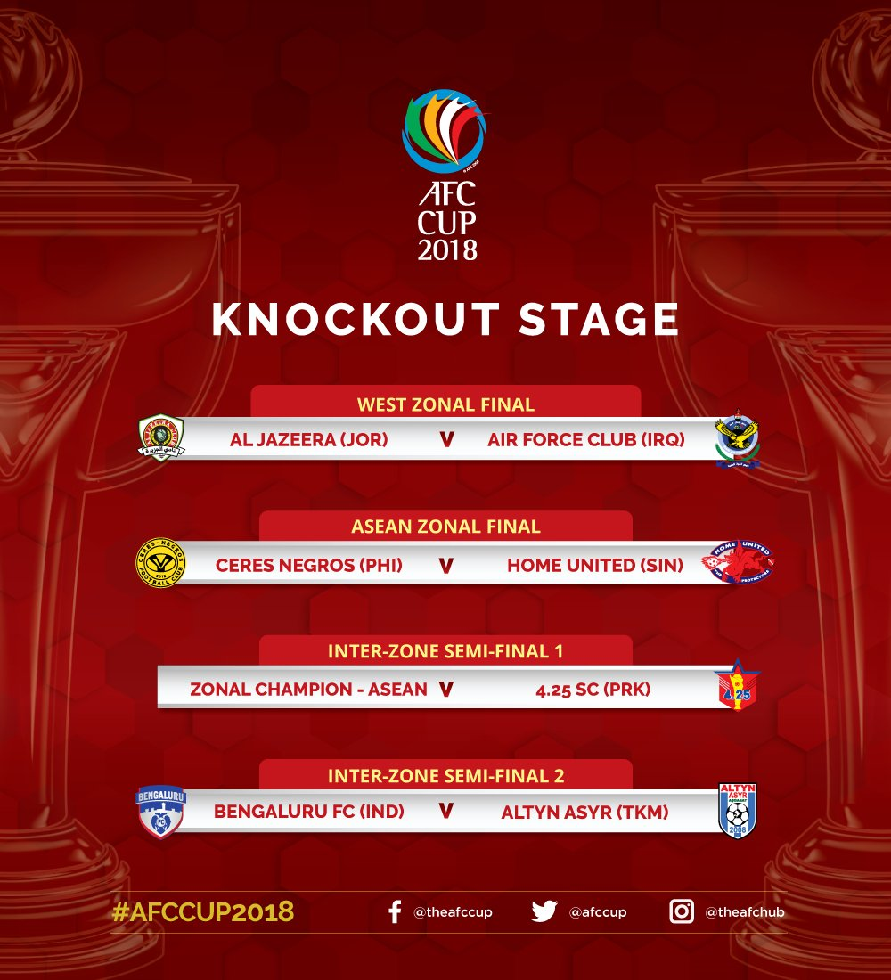 RT @AFCCup: Here's the #AFCCup2018 Knockout Stage draw results. Who will be crowned as champions? Tell us! https://t.co/AmjckStMpF