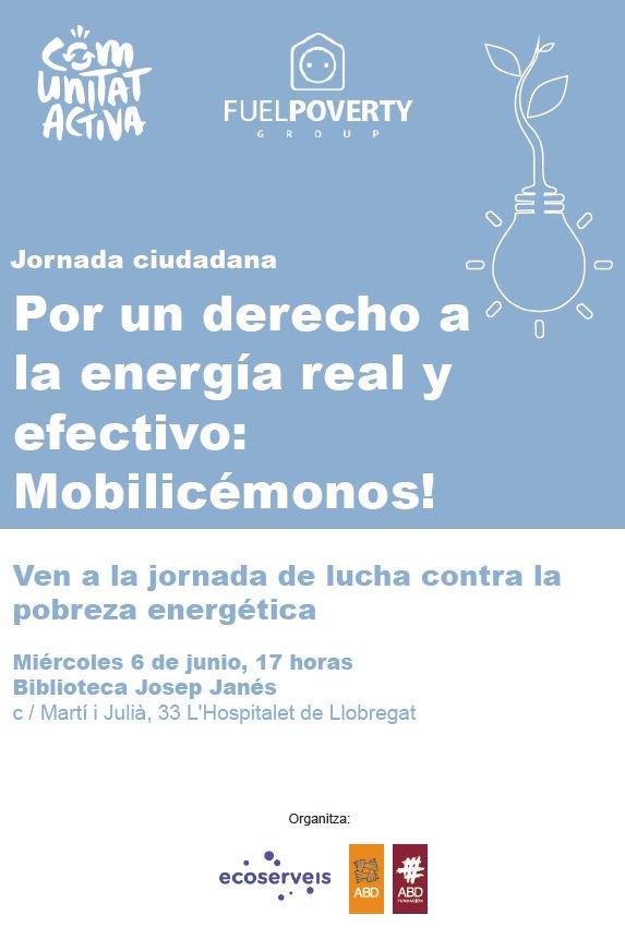 """provar Twitter Mitjans - 📆🔌El próximo 6 de junio a les 17h en la biblioteca Josep Janès del Hospitalet, os invitamos a la jornada ciudadana:  """"Para un derecho a la energía real y efectivo: Mobilicémonos!""""  📝Inscripciones a: energiajusta@abd-ong.org #PobrezaEnergética #LHDretEnergia https://t.co/AtayOfw311"""