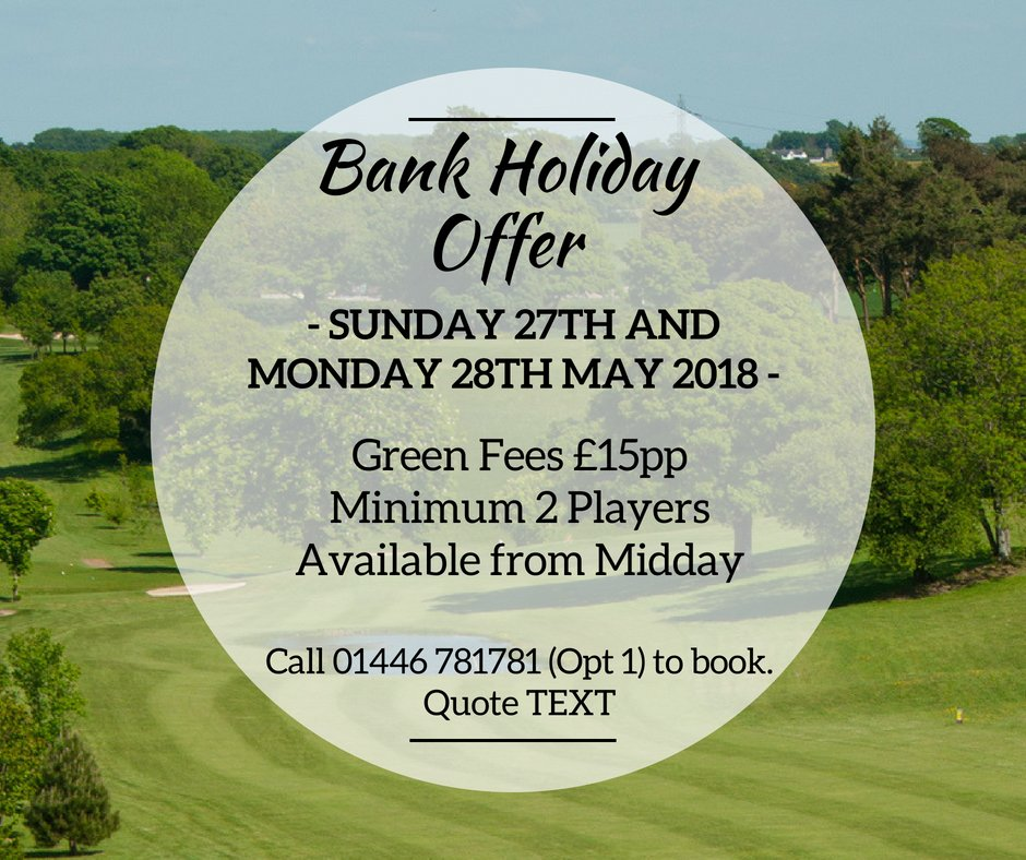 test Twitter Media - B A N K   H O L I D A Y   O F F E R☀️⛳  The Bank Holiday Weekend is the perfect opportunity to get out on the course and take advantage of our fantastic offers!  Call 01446 781781 Option1 to book your Tee times today! https://t.co/svLF7WrDam