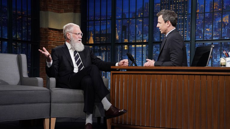 David Letterman talks Trump, Pence and the surfing goat on return to @LateNightSeth