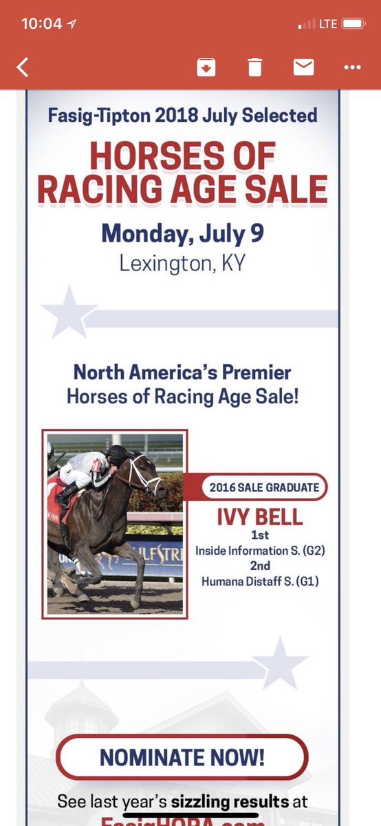 test Twitter Media - Love seeing the @FasigTiptonCo ADV featuring IVY BELL. A BSW Private Purchase as a Stakes Winner. Now G2W/G1P for Mathis Stables, @Chinahorseclub and Madaket (Kumin). Thanks to team TAP and @jjcjockey. @EliteRaceSales who led every metric in 2017 now accepting July Noms. https://t.co/cV75mpN6fY