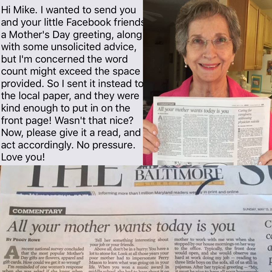 #TextsFromMother https://t.co/Xfdo4YAati #mothersday2018 #mother #mom @baltimoresun https://t.co/Lc80fm6ME9