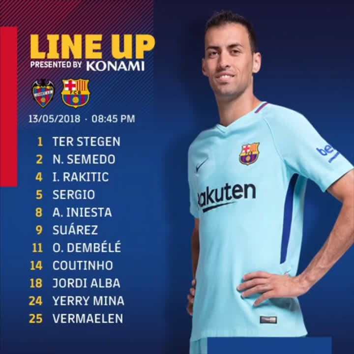 ⚽ 10 minutes to go until #LevanteBarça and a quick reminder of the starting XI for the blaugranes #ForçaBarça https://t.co/9XahUzPyzA