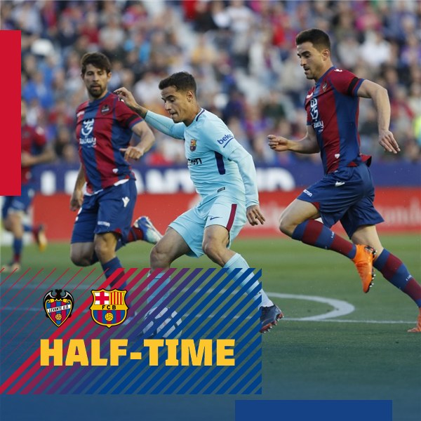 ⏰ At the break! Levante UD 2-1 FC Barcelona ⚽ Boateng (2) / Coutinho ���� Come on, Barça! #LevanteBarça https://t.co/EZ34BBBKus