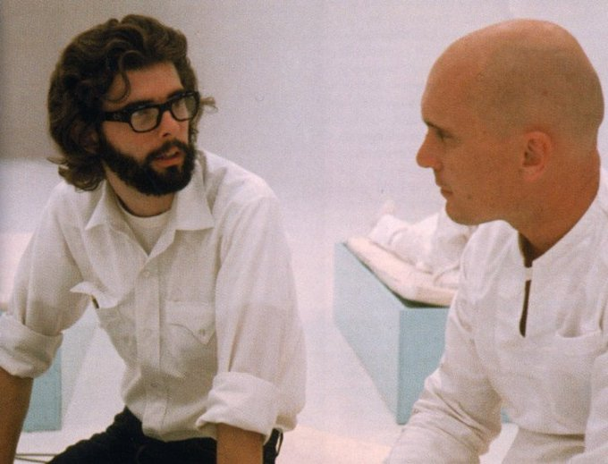 Happy 74th birthday to George Lucas, seen here with Robert Duvall on the set of \THX 1138\ (1971).