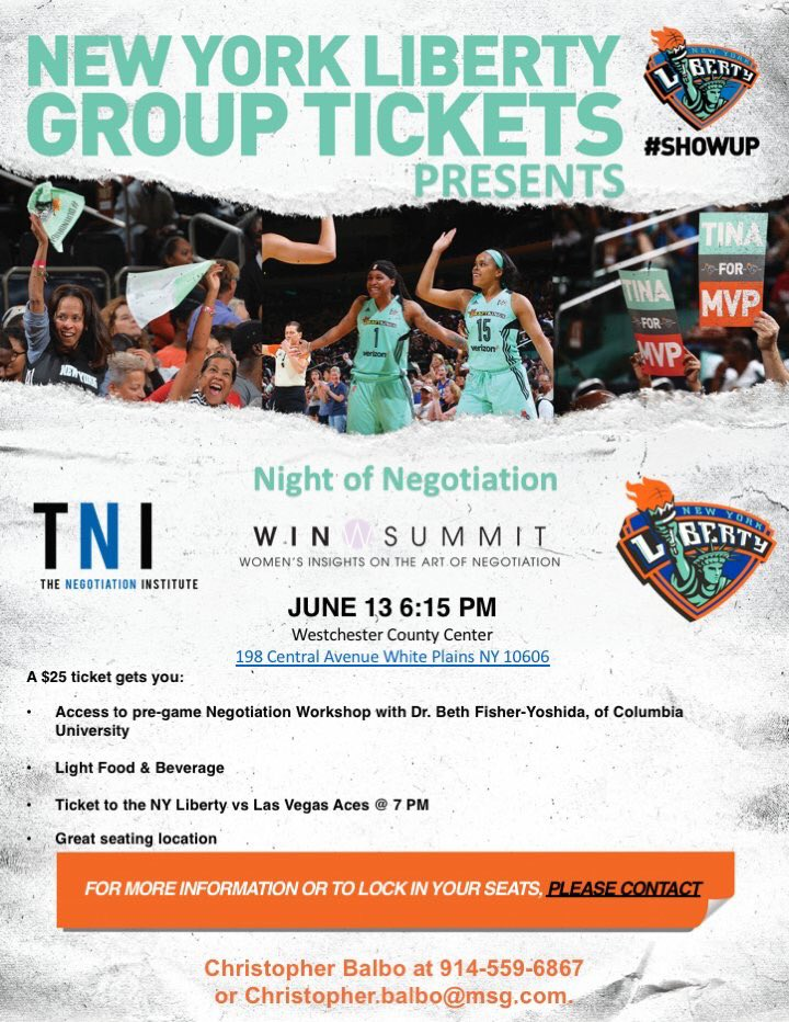 "test Twitter Media - Join The Negotiation Institute, Columbia University, and The NY Liberty for a ""Night of Negotiation."" June 13th @ 6:15 PM.   @CU_SPS_NECR @NegotiationCOM @nyliberty @TheWINSummit   #Negotiation #ShowUp #TNI #TNINON https://t.co/PdydGjaJoZ"
