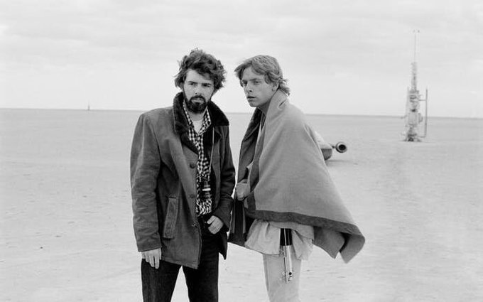I love this photo of George Lucas and Mark Hamill. Happy birthday, George! Thank you for your incredible creations!