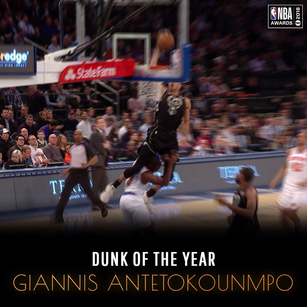.@Giannis_An34 takes home the #DunkOfTheYear! ����   Don't miss the 2018 #NBAAwards - June 25 on TNT! https://t.co/D4Zt4aPG8d