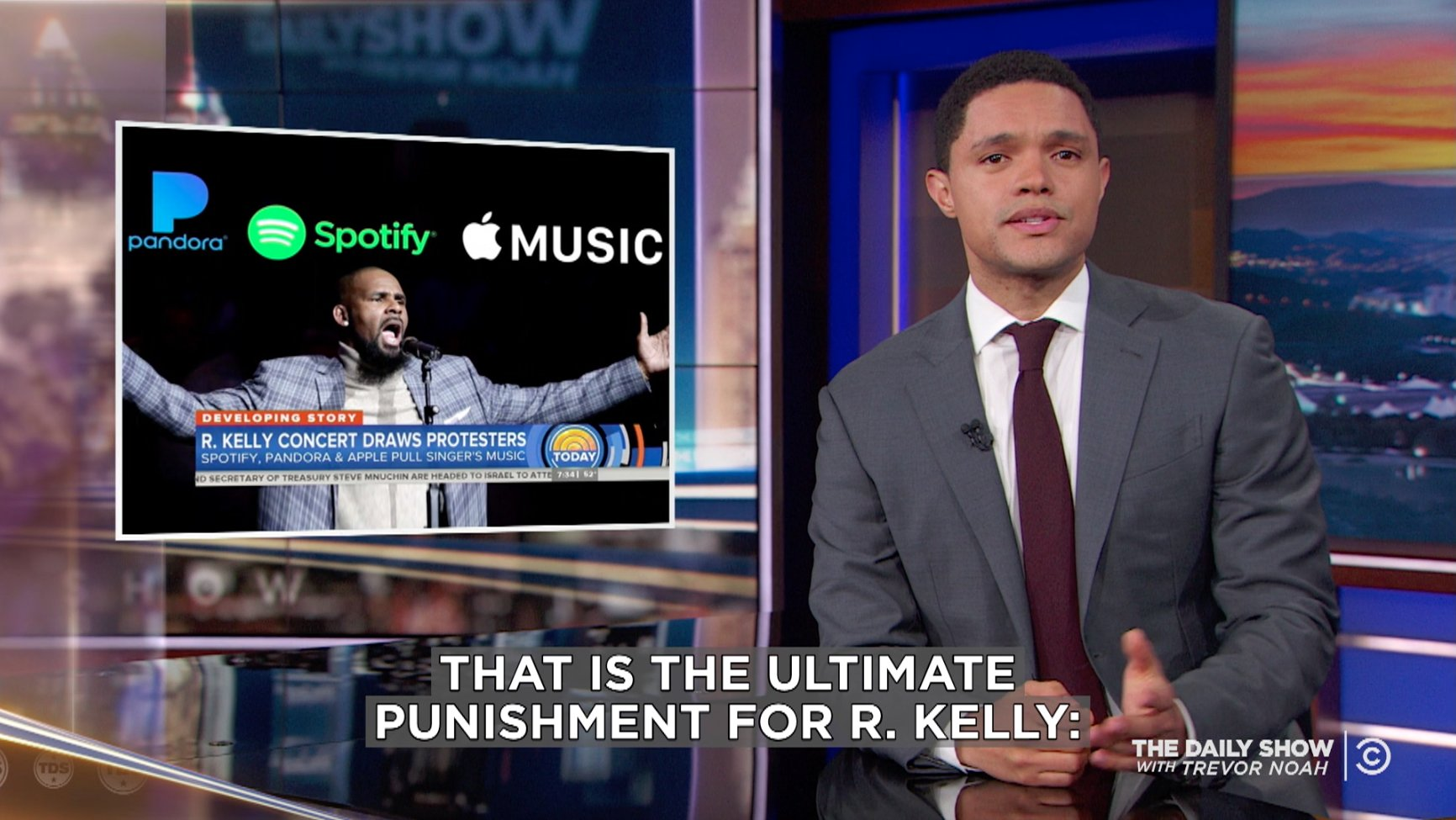 Music streaming services have stopped recommending R. Kelly, which @TheDailyShow is also doing. https://t.co/3IR9CbKGai