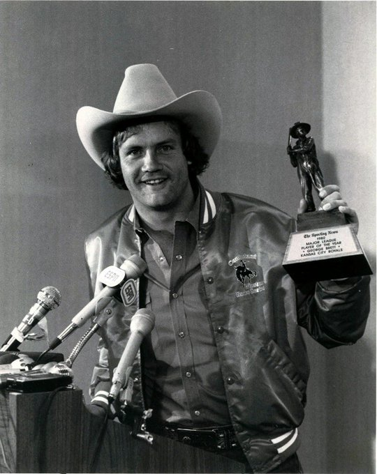 Happy birthday to George Brett, seen here holding a Sporting News Player of the Year trophy in 1980.