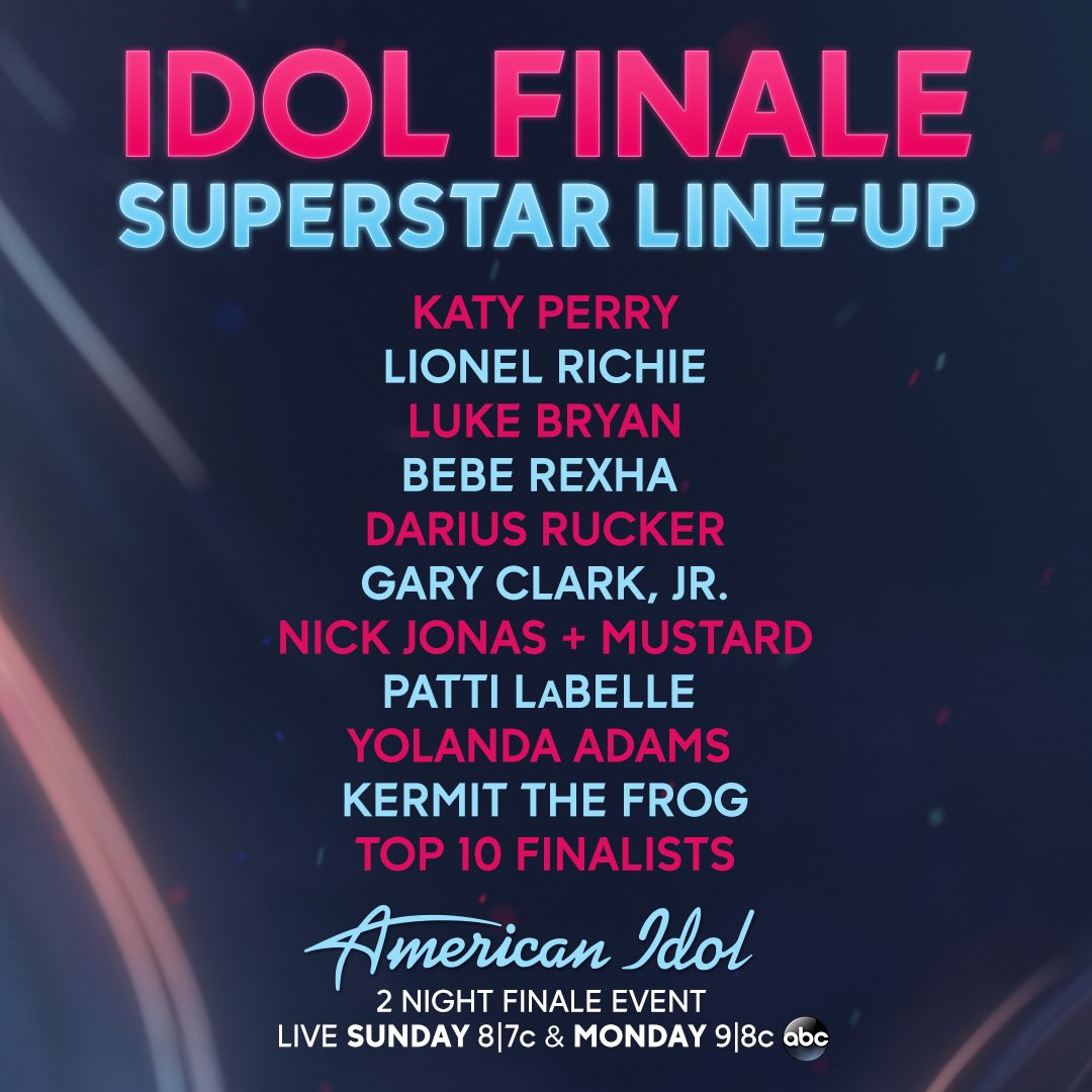 The #AmericanIdol finale lineup got us like ��  Be there Sunday AND Monday to see what other surprises unfold... https://t.co/5dG3eYsBOS