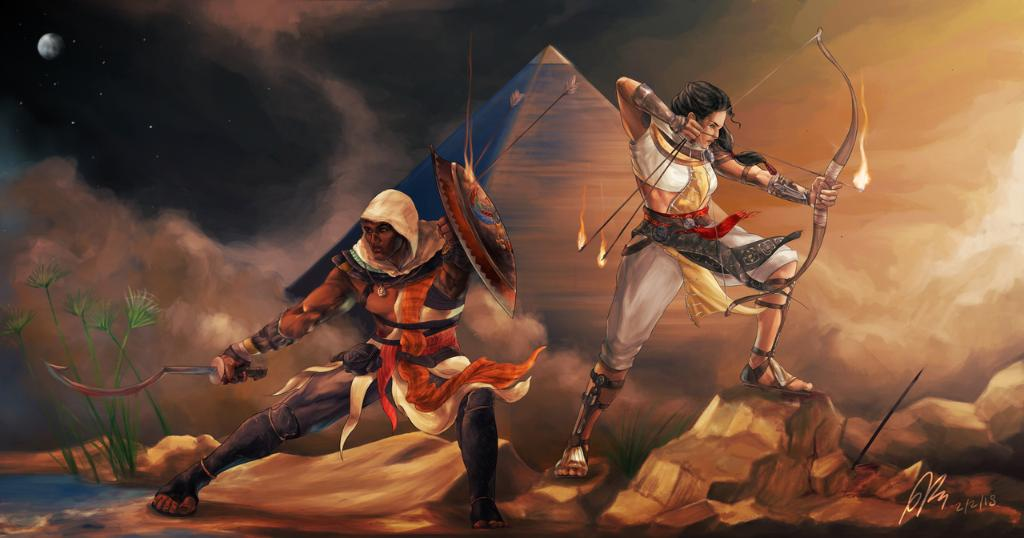 The protectors of Egypt. | Bayek and Aya by Paul Kassab ⚔ https://t.co/9ajk0HJkSw https://t.co/EhxYi4qJWe