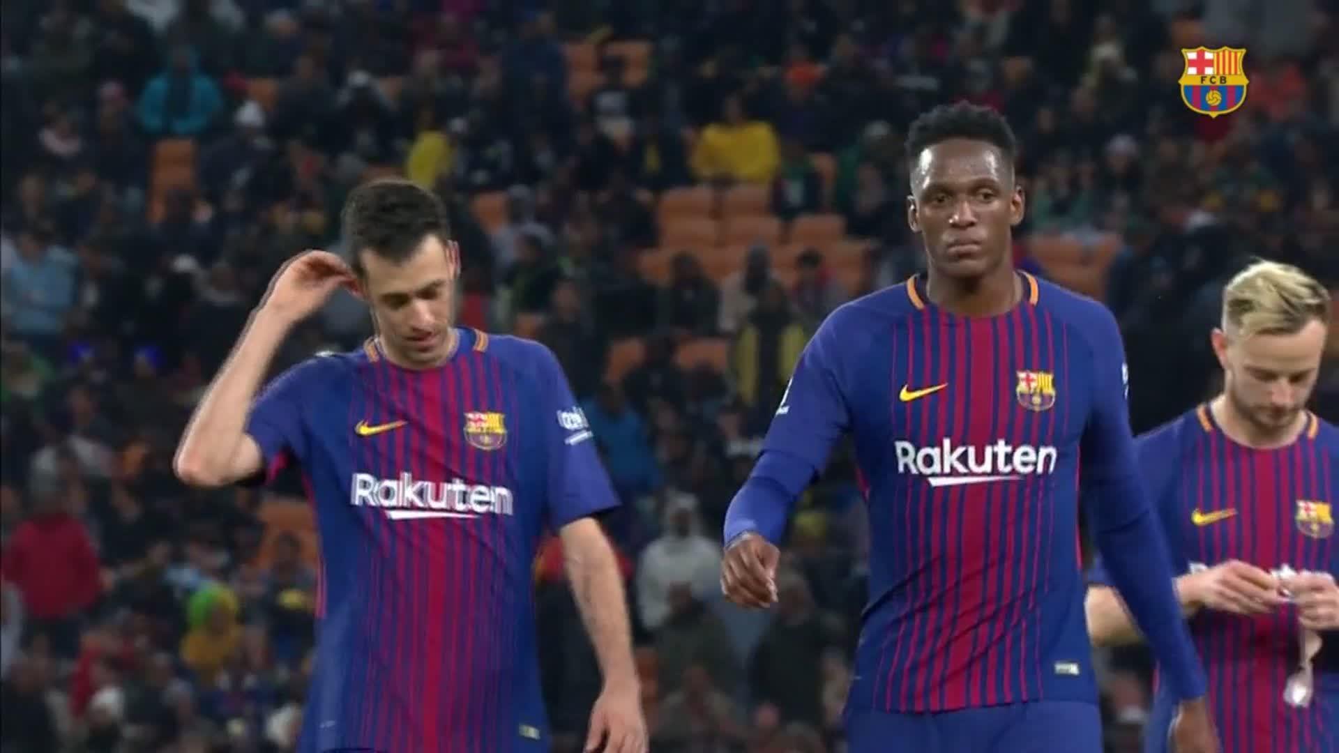 ⏰ At the break!  @Masandawana 0 @FCBarcelona 2  ⚽ O.Dembélé and Luis Suárez  #SundownsBarça https://t.co/de6zciNDW9