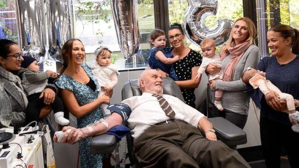 Australian man with rare blood type, credited with saving 2.4 million babies, donates blood for the last time: https://t.co/dY6FEqoc63