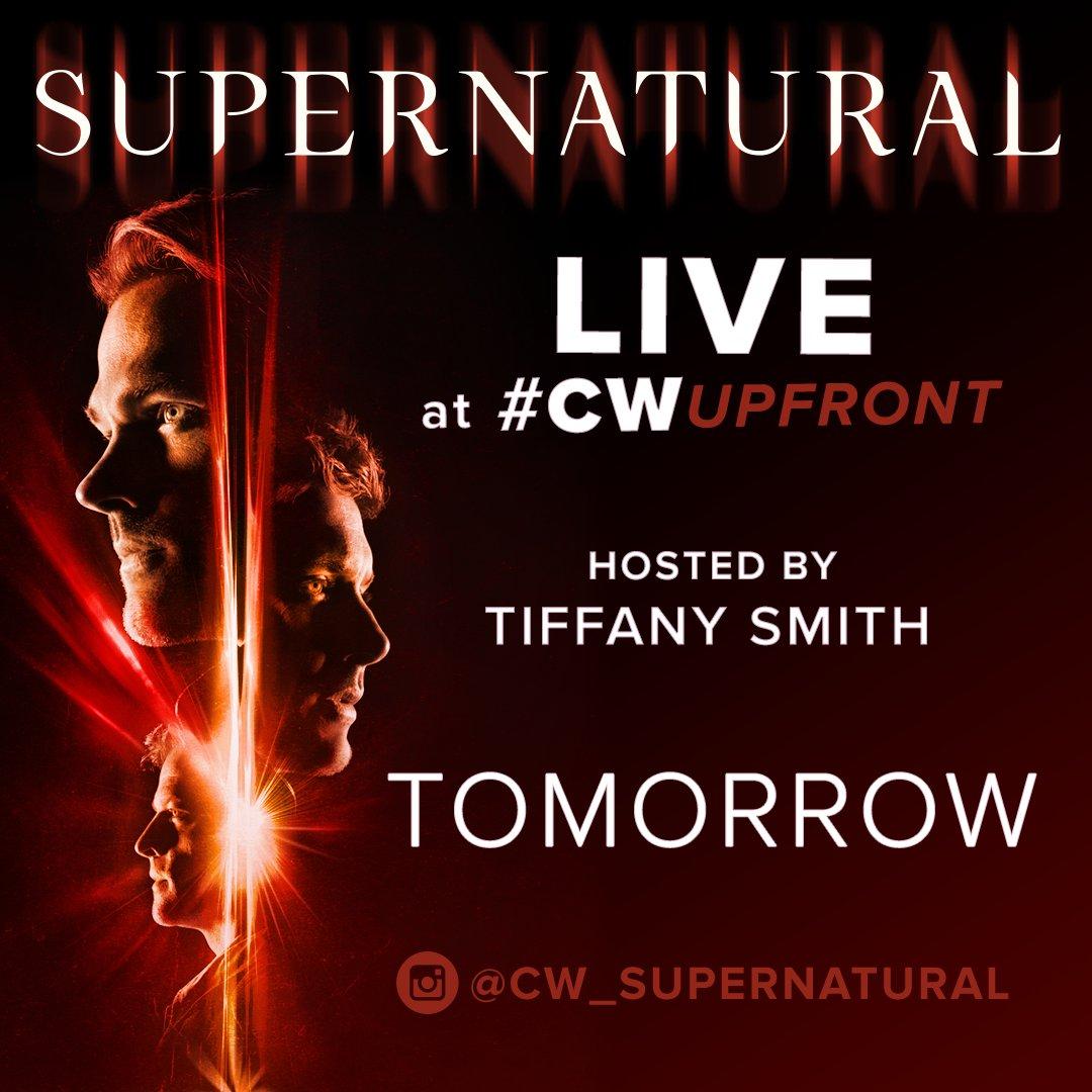 Don't miss the cast of #Supernatural TOMORROW morning LIVE on the #CWUpfront red carpet: https://t.co/FgdJBsf95T https://t.co/zuKDl5eREK