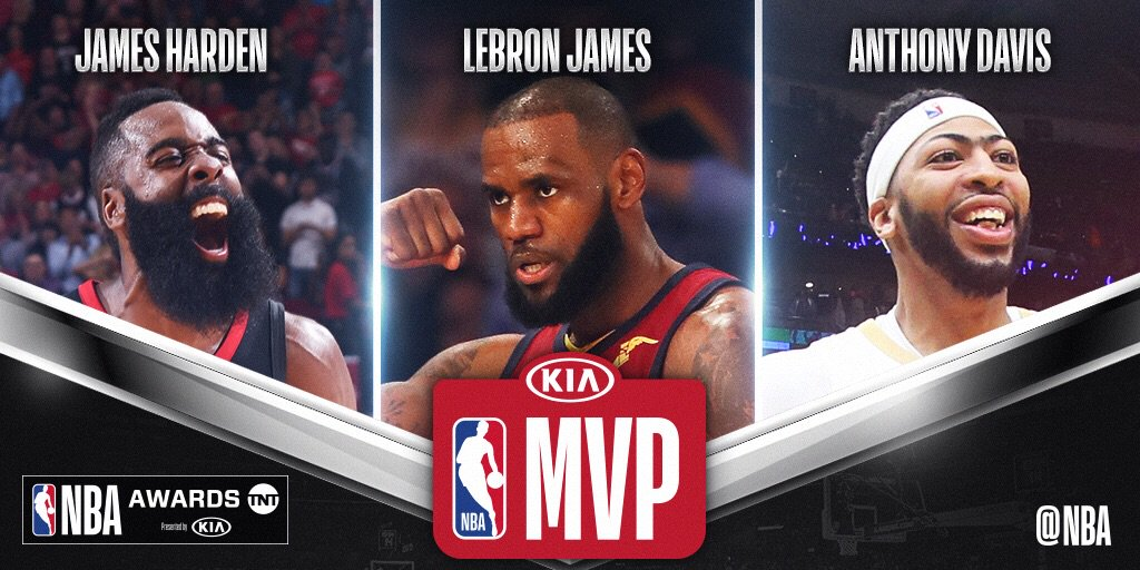 The three finalists for #KiaMVP... @JHarden13, @KingJames and @AntDavis23!   The 2018 #NBAAwards air 6/25 @NBAonTNT! https://t.co/4bFvOpersI