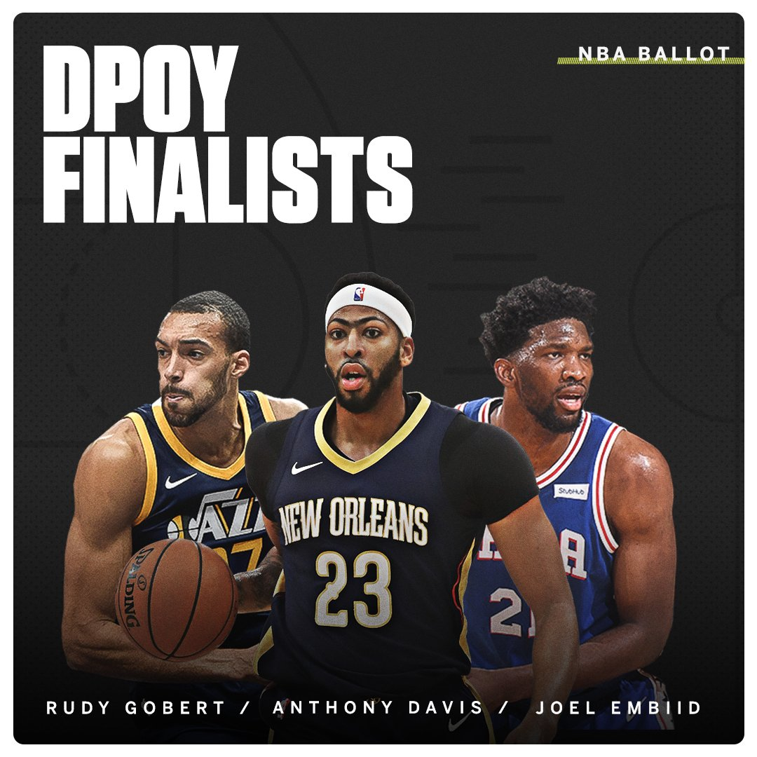 This year's NBA Defensive Player of the Year will be a first-time winner. https://t.co/cVYqIPG5tY