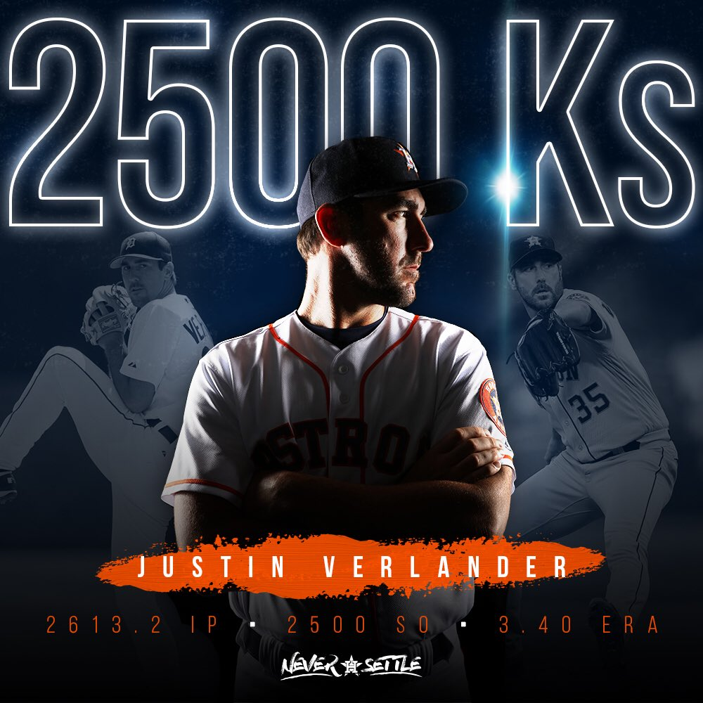 Just the 33rd pitcher in MLB history to reach 2,500 strikeouts. Congratulations, @JustinVerlander! ������ https://t.co/WfopOBn8wr