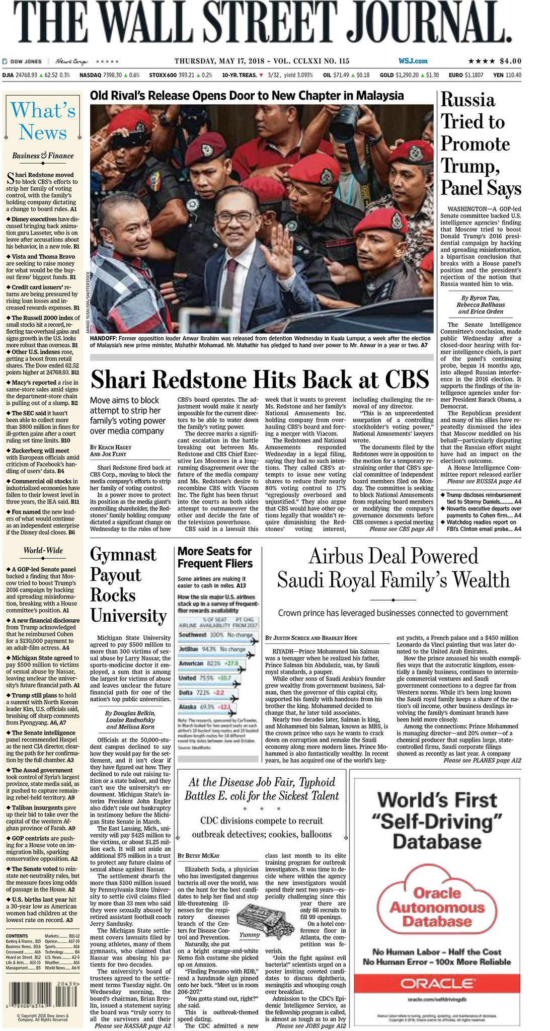 Take an early look at the front page of The Wall Street Journal https://t.co/5xQPDPcm8q https://t.co/M88fMCRFK4
