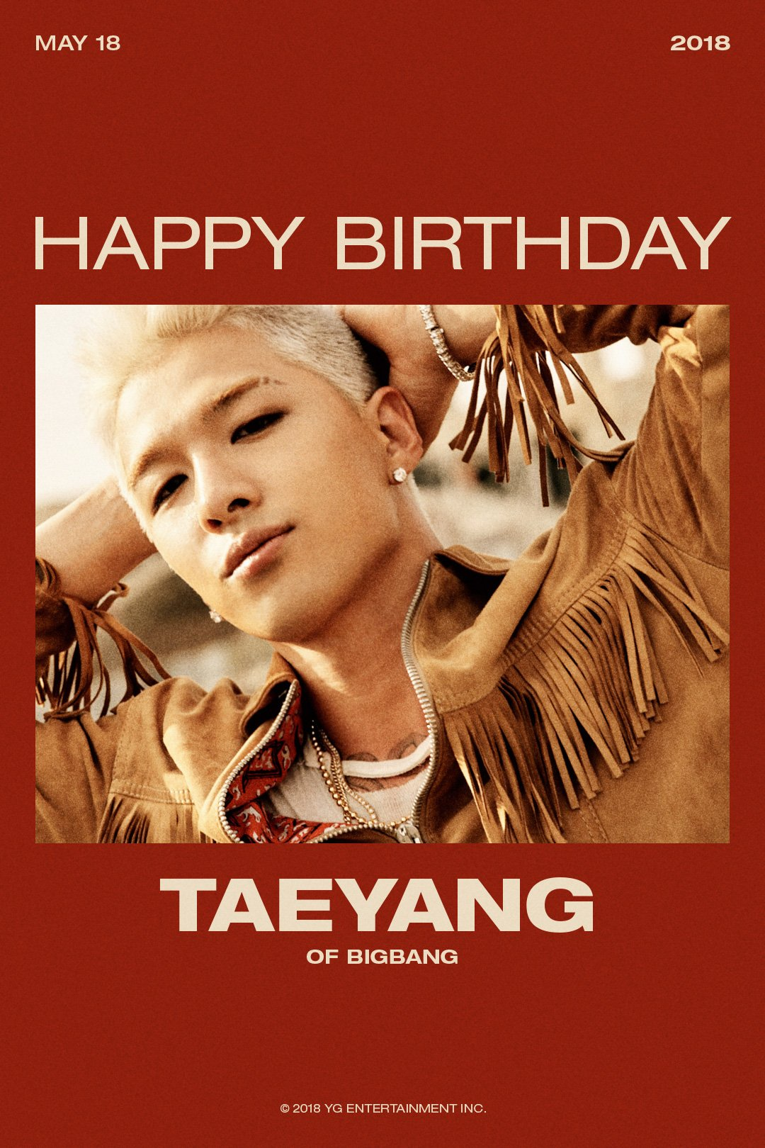 HAPPY BIRTHDAY #TAEYANG��  #2018_05_18 #HBD #태양 #YG https://t.co/QNiCcY81M3