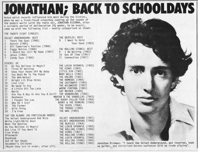 Happy Birthday Jonathan Richman!  This list you made is cool.