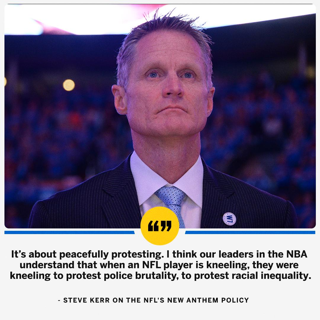 Steve Kerr had a clear statement on the difference between the NFL and NBA's handling of social justice matters. https://t.co/A0sKEdRZkC