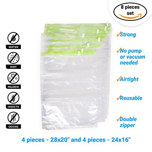 8 Travel Space Saver Storage Bags for Clothes – No Vacuum or Pump Needed – Re...