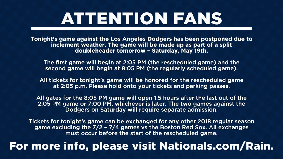 Tonight's #Nats-Dodgers game has been postponed.   For more information, please visit https://t.co/XQCfYB8cuG. https://t.co/hkT1WpARU5