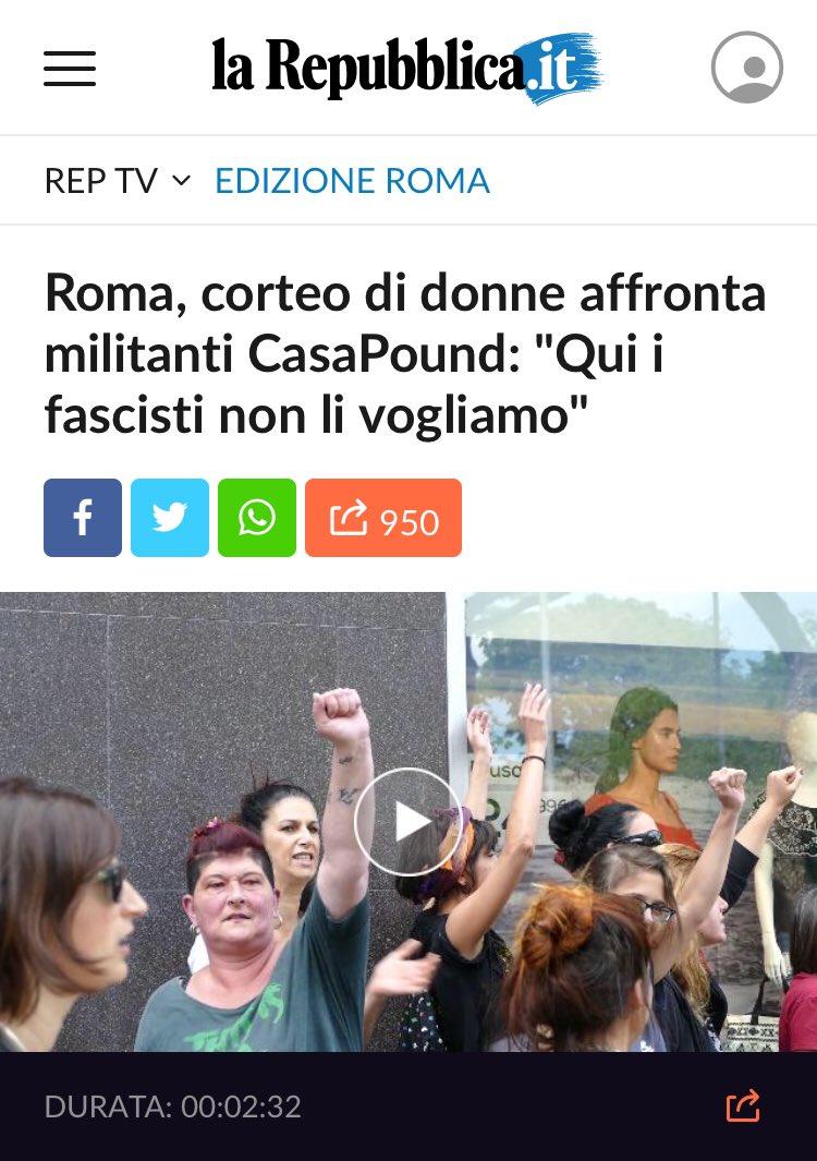 """test Twitter Media - #19m #roma corteo di donne #antifa affronta i militanti di Casapound: """"Qui i fascisti non li vogliamo"""" via @repubblica https://t.co/r5YJ2xBODx https://t.co/9XyceOsb3F"""