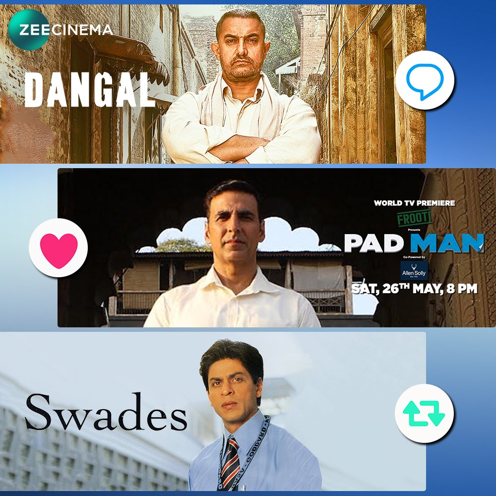 test Twitter Media - Cinema ka asli maksad hai social message pahunchana. Which Bollywood revolutionary film is your favourite? Watch the World TV Premiere of Pad Man, Sat, 26th May, 8 PM on Zee Cinema. #PadManOn26May   @aamir_khan @iamsrk  @akshaykumar https://t.co/0PgyjYxDtG