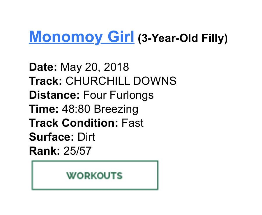 """test Twitter Media - First work back since big KY Oaks win for Monomoy Girl. According to @bradcoxracing it was """"awesome"""". Looking ahead to the G1 Acorn in 3 weeks! Going for three G1's in a row. https://t.co/bIbzJmFKw5"""