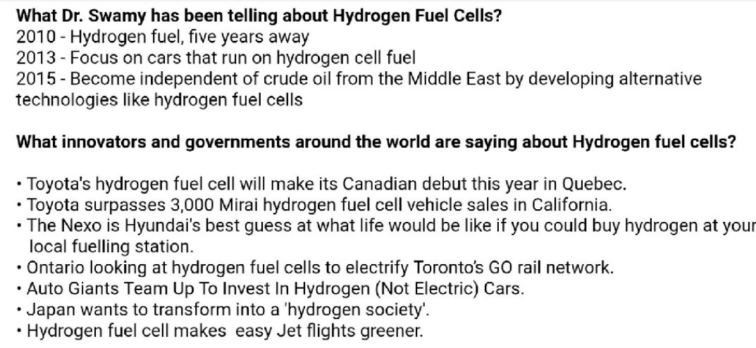 Know what Dr. @Swamy39 has been telling us for a long time and what innovators around the world are saying about Hydrogen fuel cells.