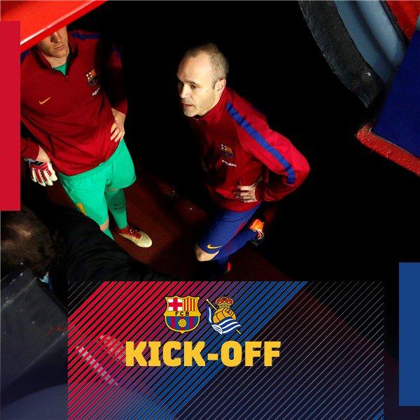 ⏰ The game is under way! ⚽ FC Barcelona - Real Sociedad �� Let's go, Barça! ���� #BarçaRealSociedad https://t.co/Y56Or70vQX