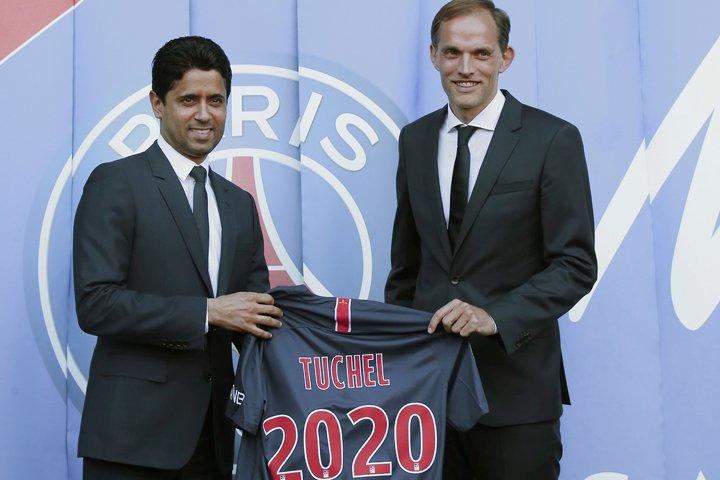 @BroadcastImagem: Alemão Thomas Tuchel (D) é apresentado como técnico do PSG. Michel Euler/AP