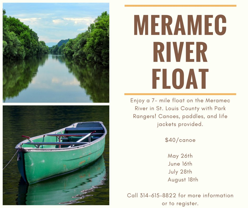 Nothing beats a day spent on the river! The first Meramec River Float is on May 26. Call 314-615-8822 to register. https://t.co/CgnEdZmby7